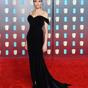 Angelina Jolie 2019 Sweetheart Neck Celebrity Dresses Mermaid Black Velvet Front Split Red Carpet Evening Dresses Custom Made on Sale