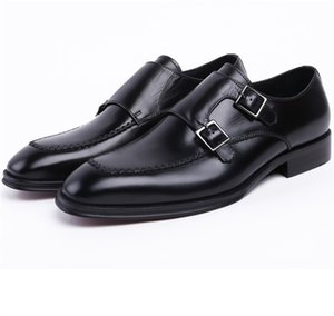 Wholesale Double Monk Strap Social Shoes Brown Tan Black Mens Dress Shoes Genuine Leather Business Male Wedding Groom