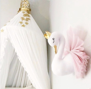 Cute 3D Golden Crown Swan Wall Art Hanging Girl Swan Doll Stuffed Toy Animal Head Wall Decor for Kids Room Birthday Gift
