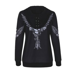 Wholesale 2018 Women Angel Wing Skull Print Zip Up Hoodie Punk Casual Lace Up Hooded Pullover
