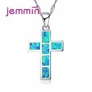 Wholesale Jemmin New Cute Nature Blue Opal Stone Necklace Cross Pendants Gift For Women Girls Sterling Silver Jewelry Necklace
