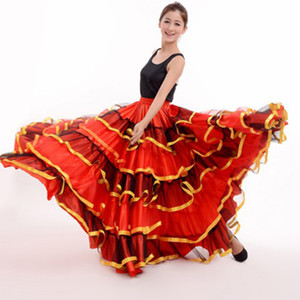 Womens Ballroom Spanish Flamenco Dance Skirt Dancer Fancy Dress Costume Red Belly Dancing Skirts 360 540 720 Degree DL2878