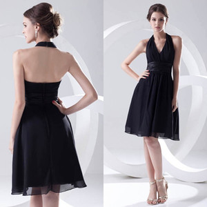 Wholesale Black Simple Cheap Short A Line Bridesmaid Dresses Chiffon Halter Ruffles Formal Maid of Honor Dresses Wedding Guest Gowns ZPT214