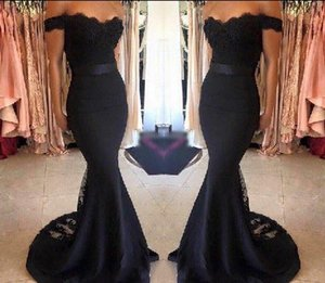 Wholesale black Mermaid Evening Gowns With Appliques Lace Vestido Longo Sexy Backless Sweetheart Evening Dresses Ladies Formal prom Dresses free ship