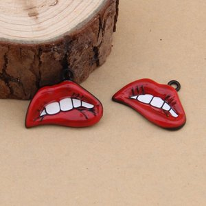 28*21mm Fashion diy Enamel red lip charms lot sexy mouth pendants metal dangles alloy bracelet earrings accessories wholesale jewelry making