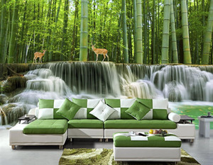 fondos forestales al por mayor-Custom d mural wallpaper Bambú bosque agua d wall murals d sala de estar dormitorio de fondo de pared no tejido wallpaper