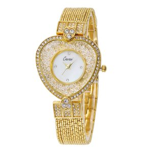 Wholesale Famous Brand Gold Fashion Women Watches Heart-shaped High-end Chain Rhinestone Ladies Bracelet Watch Dress Elegant Reloj Mujer