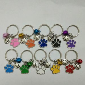 Wholesale New Hot Drip Glaze Cat Dog Bear Paw Flyball Mix Bell Charm Anti Theft Keychain Gift Key Circle Jewelry Making A83