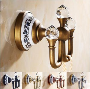 Wholesale Bathroom Accessory Hardware Wall Mount Brass Crystal Robe Two Hooks Holder Bath Shower Towel Clothes Antique Rose Gold Chrome Chrome Hanger