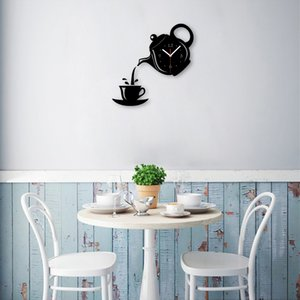 Wholesale New Room Coffee Cup Shape Decorative Kitchen Wall Clock Living Room Home Decor Arrival Wall Clock Mirror Effect Quartz Needle