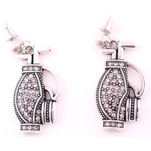 Wholesale 18mm mm pair High Quality Vintage Antique Silver Color Zinc Alloy Golf Bag Pendant Studded With Crystal Hook Earrings Jewelry