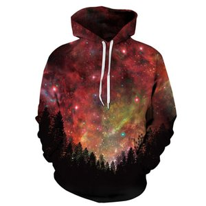 Men Women Hoodies Pullover Sweatshirts Long Sleeve 2018 Autumn Winter Brand Hooded 3D Print Galaxy Jungle Tracksuit Plus Size Tops on Sale