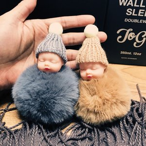Wholesale Sleeping Baby Doll Keychain doll Pompom fake Rabbit Fur Ball Key Chain Car Keyring Women Key Holder BagCharm jewelry