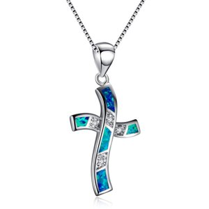 Wholesale Fashion Ocean Blue White Fire Opal Cross Pendant Necklaces For Women Sterling Silver Filled Crystal Zircon Choker Gift