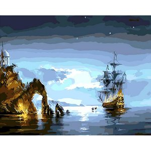 Wholesale Sea landscape DIY Digital Oil Painting On Canvas Home Decoration x50cm Frameless Pictures Painting By Numbers v46