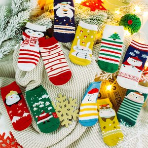 Wholesale Christmas Pair Baby Boys Girls Stripes Socks Soft Cotton Infant Socks Cute Cartoon Pattern Kids Socks