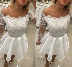 Wholesale Long Sleeve White Homecoming Dresses Sheer Neck Fake Off the Shoulder Tops Lace Tops Pearls Beading A Line Satin Short Club Party Dress