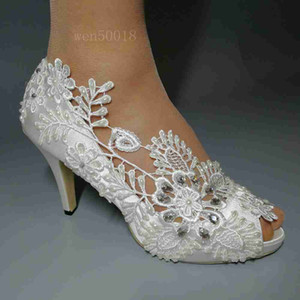 Wholesale Handmade Women Ivory lace Drill Ribbon high heels wedding shoes bridal bridesmaid Party accessories HEEL cm size