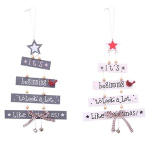 Wholesale Wooden Merry Christmas Tree Decor Classical Photographic Props Festival Bowknot Bell Color Letter Pendant Supplies Hot Sale hb Ww