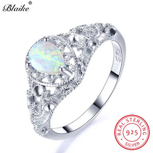 ingrosso anelli birthstone-Blake vero argento sterling White Fire Opal Anelli per le donne Vintage Hollow Water Drop Birthstone Ring Fine Jewelry Gift