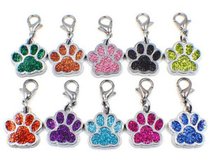 Wholesale 50pcs Bling dog bear paw footprint with lobster clasp diy hang pendant charms fit for keychains necklace bag making