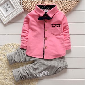 Wholesale Newborn New Spring Baby Clothes Gentleman Baby Boy Shirt Overalls Fashion Baby Boy Girl Clothes Sets Roupas De Bebe