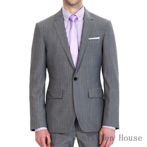 Wholesale 2018 Men s Piece Buon Notch Lapel Slim Classic Stripe Gray Suits For Business Event Or Tailor Made Groom Jacket Pants