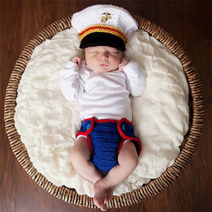 Wholesale New Arrival Navy Sailor Design Infant Baby Unisex Crochet Animal Costume Photo Props Knitted Boy Girls Animal Outfits Photography Props