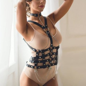 Wholesale New Harajuku Gothic Bondage Sword Belt Bra Sweater On The Body Straps Holographic Leather Harness Suspenders Sexy Women GPD8606