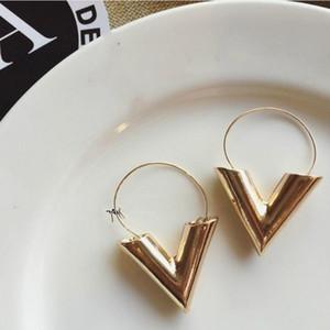 jewelry Earrings for women Brincos Oorbellen Simple Metal Wind Letter V Shape Stud Earrings For Women Gift