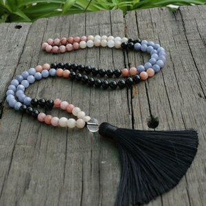Wholesale 8mm Sun Stone And Onyx Mala Beads Necklace Help Improves Confidence JaPaMala Bead Mala Mala Jewelry Prayer Beads