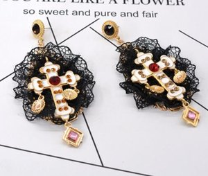 Wholesale Baroque Crystal Enamel Crucifix Dangle Earrings Black Lace Design Eardrop Temperment Women Prom Earring Jewelry Accessories