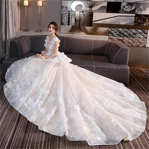 Wholesale Mingli Tengda High Quality Elegant Dark V Neck Appliques Wedding Dresses 2018 Cathedral Train Wedding Dresses Sexy Sleeveless Gown Plus Size