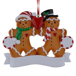 Wholesale Gingerbread Family Of Resin Christmas Ornaments With Red Apple As Personalized Gifts For Holiday Party Home Decor