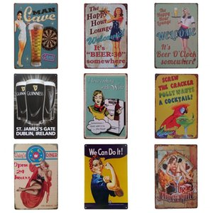Wholesale Pretty Women Drinking Theme Iron Painting For Cafe Bar Hang Create Atmosphere Tins Sign Retro Style Tins Poster cm Z