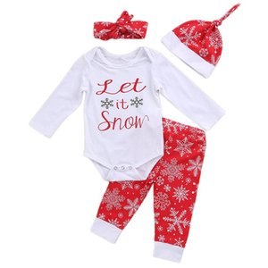 Wholesale 4 Infant Baby Boys Girls Merry Christmas Print Snowflake Romper Gifts Pattern Long Pants Headband Hat Outfit