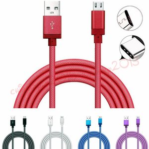 Wholesale Net Braided Type c USb Cable m m m micro V8 pin usb data charging cables for samsung galaxy s6 s7 edge s9 s8 htc android phone