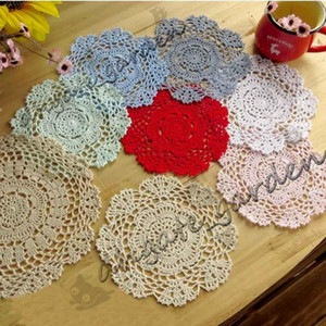 Wholesale crochet round cloths resale online - DHL Handmade Crochet Lace Pattern Crocheted Cotton Doilies Cup Pad Mats Table Cloth Coasters Round Dial cm Custom Colors