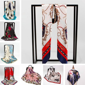 Wholesale 90 cm silk scarf Luxury Women scarves designer scarfs shawls and wraps for ladies big size Square Scarf fashion Imitated Silk Satin Shawl