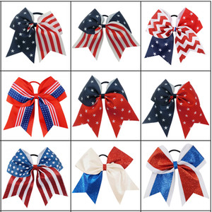 Wholesale Fashion Bow Patriotic Glitter Elastic Hair Ties Cheerleader Bow With Ponytail Holder For Girl Cheerleader