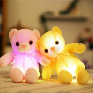 Wholesale 2018 cm Creative Light Up LED Teddy Bear Stuffed Animals Plush Toy Colorful Glowing Teddy Bear Christmas Gift for Kids