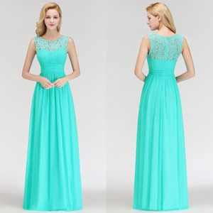Aqua Summer Chiffon Bridesmaids Dresses Cheap Under $70 DHL Shipping Sheer Lace Appliques Top Pleats Floor Length Maid of Honor Gowns BM0052