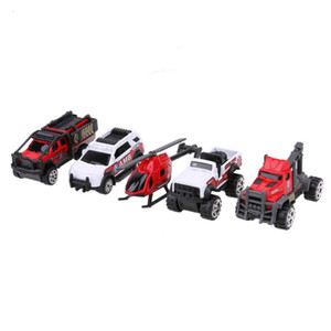 Wholesale 5pcs set Scale Ambulance Alloy Car Model Kids Children Car Truck Helicopter Toy Gift