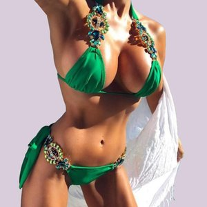 Luxury Rhinestone Beaded Women Yellow Red Green Swimwear Beachwear Push-Up Halter Triangle Top Thong Bikinis Bathing Suits