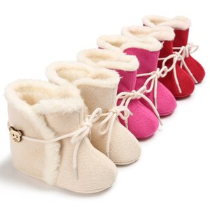 Wholesale 2019 Newborn Baby Fashion Winter Boots Infant Baby Moccasins shoes snow boot keep warm Cute Cartoon Bear girl Shoes lace up boot