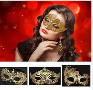 Wholesale 5 Styles Luxury Gold Crown Venetian Metal Laser Cut Wedding Masquerade Mask Dance Cosplay Costume Party Mask
