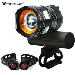 WEST BIKING Zoomable Bicycle Light USB Rechargeable Waterproof 1200LM T6 LED Bike Front Headlight Cycling Taillight Bike Light