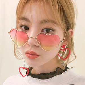 Wholesale Womens Sunglasses Retro Wild Heart Sunglasses Heart Shaped Ocean Film Transparent Lens UV Protection Sunglasses Reflective Coating Eyewear