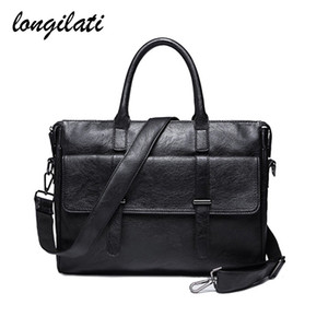 Wholesale Men Laptop Briefcase Leather Business Casual Tote Bags Mens Office Work Bags Computer Shoulder Crossbody Bag Handbag Maletin