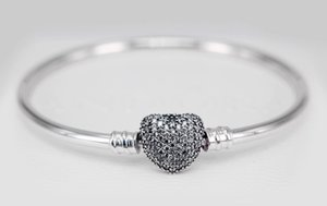 Wholesale pave heart beads for sale - Group buy Genuine Moments Silver Bracelet fits original style charms with Pave Heart Clasp CZ H9